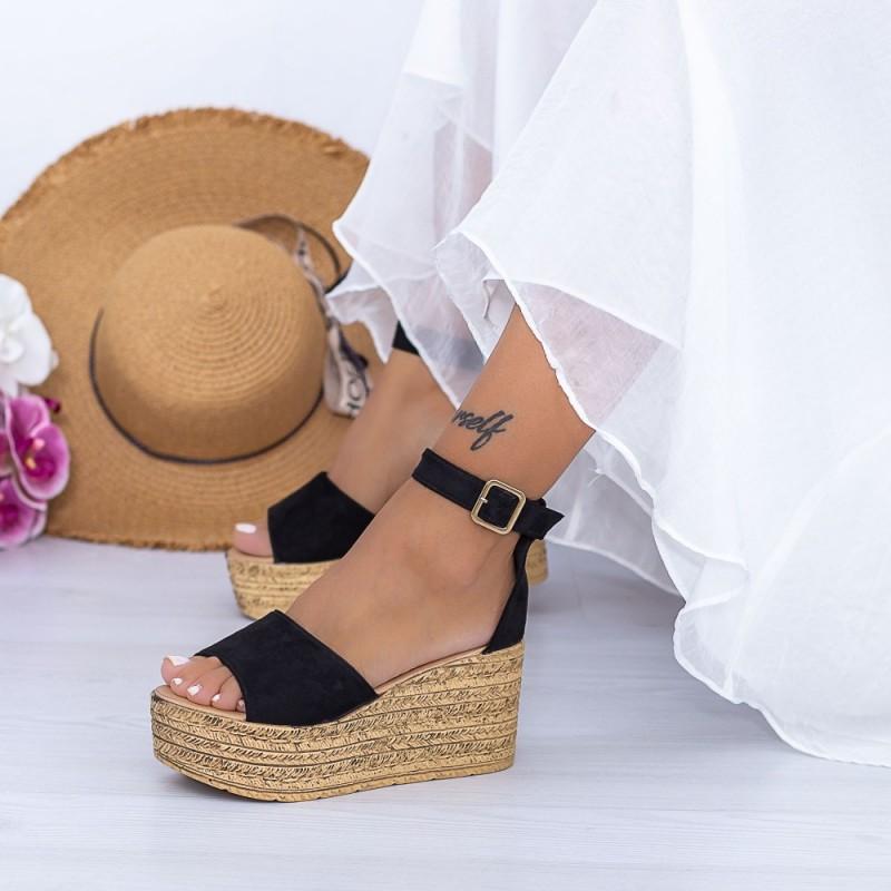 Sandale Dama cu Platforma FS18 Negru Mei