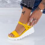 Sandale Dama cu Platforma LM300 Galben Mei