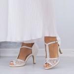 Sandale Dama cu Toc subtire QZL98 White Mei