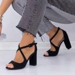 Sandale cu Toc gros XD83A Black Mei
