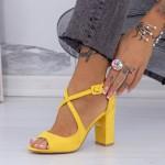 Sandale cu Toc gros XD83A Yellow Mei