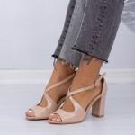 Sandale Dama cu Toc gros XD83A Beige Mei