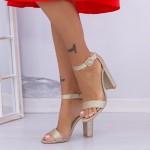 Sandale Dama cu Toc gros XKK165 Gold Mei
