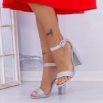 Sandale Dama cu Toc gros XKK165 Silver Mei