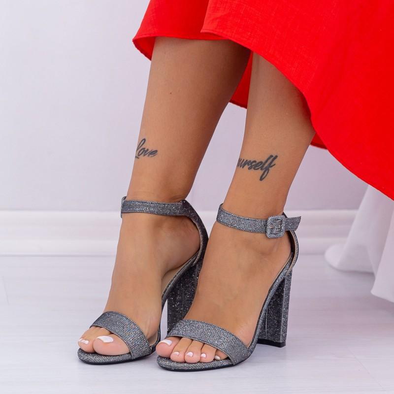 Sandale Dama cu Toc gros XKK165 Pewter Mei
