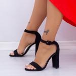 Sandale Dama cu Toc gros XKK165A Black Mei