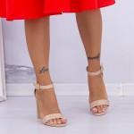 Sandale Dama cu Toc gros XKK165A Beige Mei
