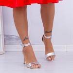 Sandale Dama cu Toc subtire YBS38 Silver Mei