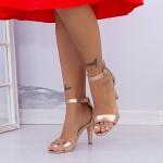 Sandale Dama cu Toc subtire YBS38 Champagne Mei