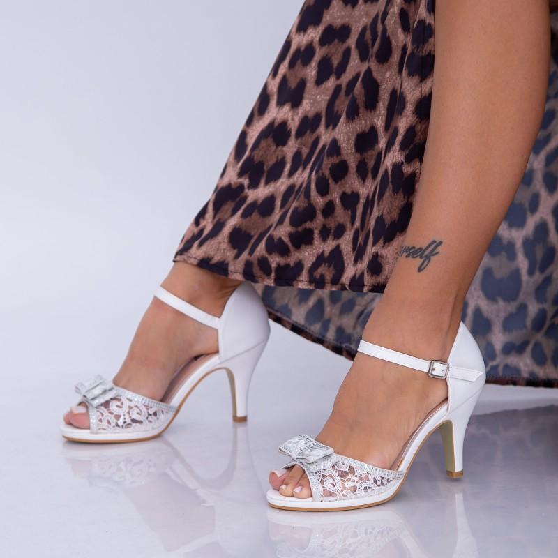 Sandale Dama cu Toc subtire QZL102 White (B05) Mei