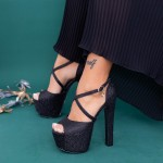 Sandale Dama cu Toc gros si Platforma HLX72A Black Mei