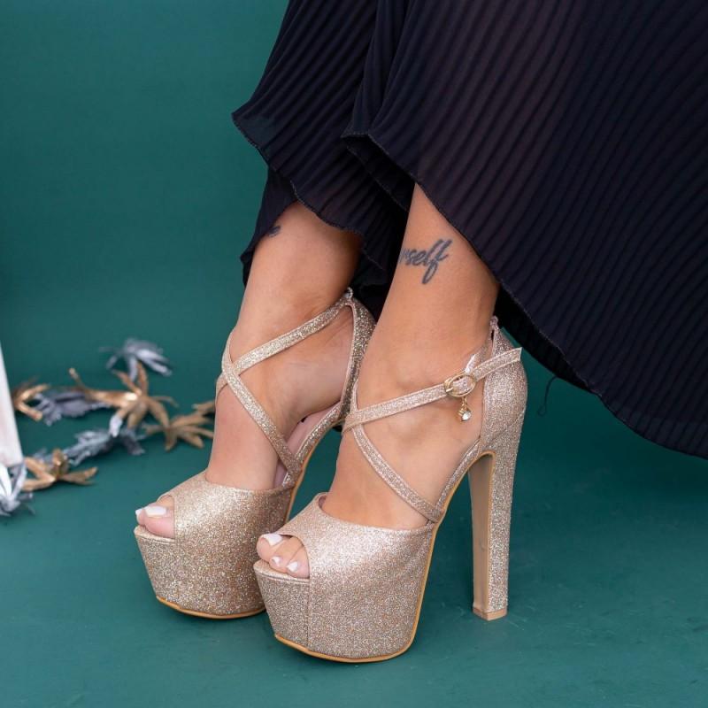 Sandale Dama cu Toc gros si Platforma HLX72A Champagne Mei