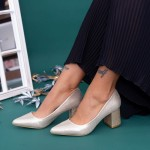 Pantofi cu Toc gros LLH18C Gold Mei