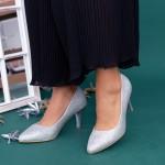 Pantofi cu Toc subtire QZL66D Silver Mei