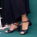 Sandale Dama cu Toc gros QZL217B Black Mei