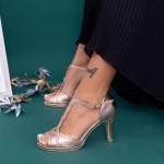 Sandale Dama cu Toc subtire WT70 ST Champagne Mei