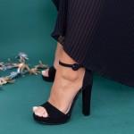 Sandale Dama cu Toc gros si Platforma XD81 Black Mei