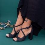 Sandale Dama cu Toc gros XD83C Black Mei