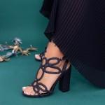 Sandale Dama cu Toc gros XKK158A Black Mei