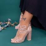 Sandale Dama cu Toc gros XKK158A Champagne Mei