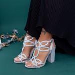 Sandale Dama cu Toc gros XKK158A Silver Mei