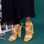 Sandale Dama cu Toc gros XKK160A Yellow Mei