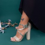 Sandale Dama cu Toc gros XKK160B Gold Mei