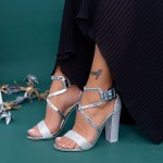 Sandale Dama cu Toc gros XKK160B Silver Mei