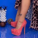 Pantofi cu Toc subtire OL2500-1 Red Mei