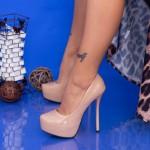 Pantofi cu Toc subtire si Platforma OLG1 Beige Mei