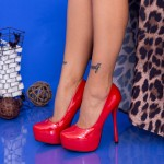 Pantofi cu Toc subtire si Platforma OLG1 Red Mei