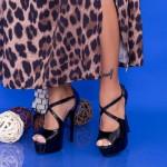 Sandale Dama cu Toc subtire si Platforma OLGM5 Black Mei