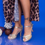 Sandale Dama cu Toc subtire QZL158 Gold Mei