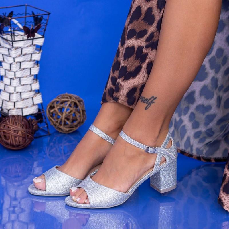 Sandale Dama cu Toc gros QZL217B Silver Mei