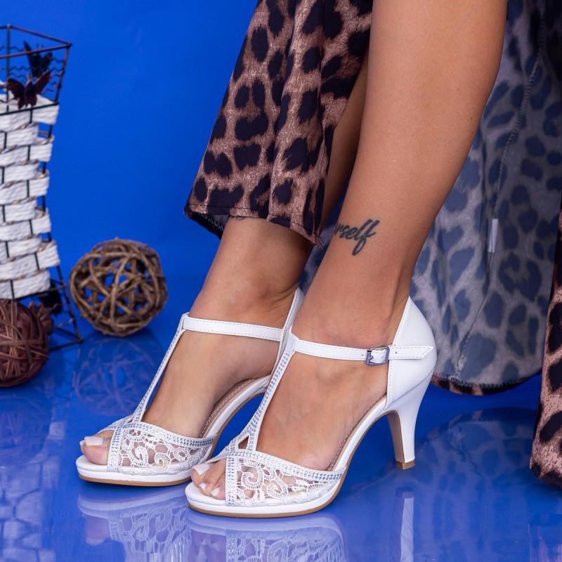 Sandale Dama cu Toc subtire WT25 White Mei