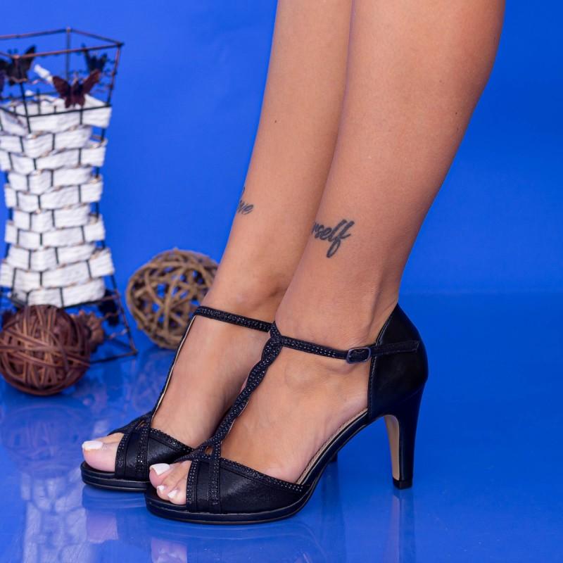 Sandale Dama cu Toc subtire WT70 ST Black Mei