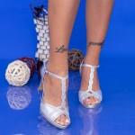 Sandale Dama cu Toc subtire WT70 ST Silver Mei