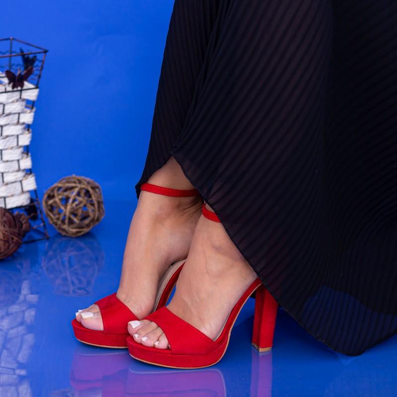 Sandale Dama cu Toc gros si Platforma XD81 Red Mei