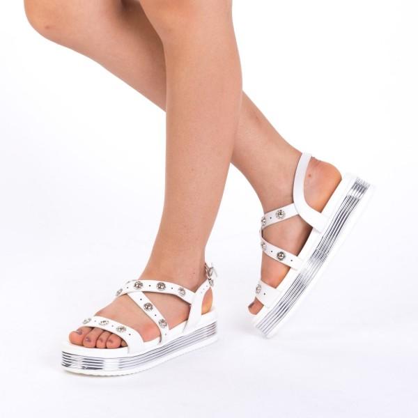 Sandale Dama cu Platforma CS16 White Mei